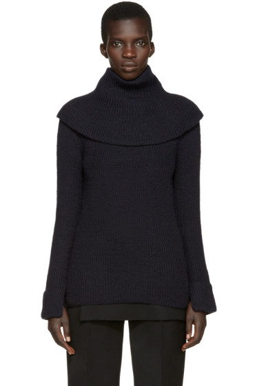 Toga - Navy Wool Oversized Turtleneck