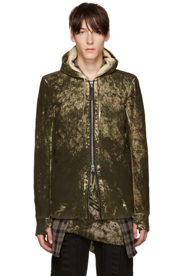 11 by Boris Bidjan Saberi - Green Camo Wash Hoodie