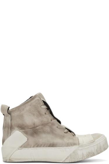 Boris Bidjan Saberi - Beige Distressed High-Top Sneakers