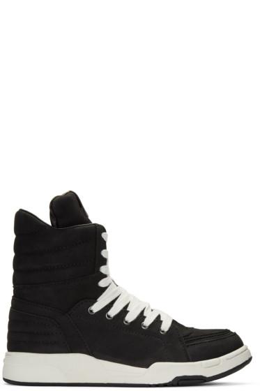 Diet Butcher Slim Skin - Black Suede Zip High-Top Sneakers