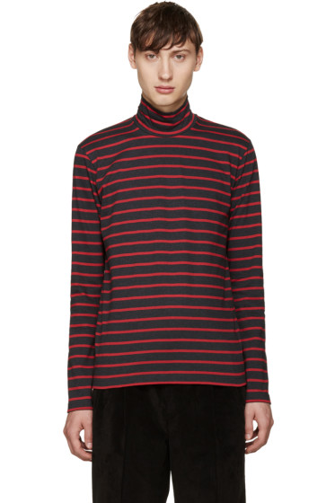 Johnlawrencesullivan - Grey & Red Striped Turtleneck