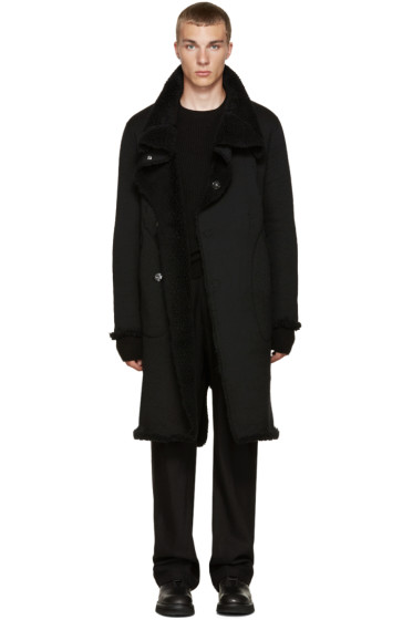 Nude:mm - Black Shearling Long Coat