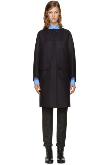 Jil Sander Navy - Navy Collarless Wool Coat
