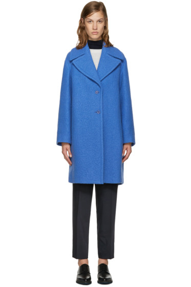 Jil Sander Navy - Blue Wool Wide Collar Coat