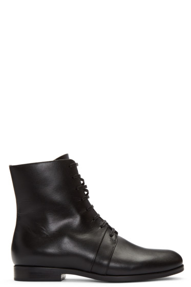 Jil Sander Navy - Black Leather Ankle Boots