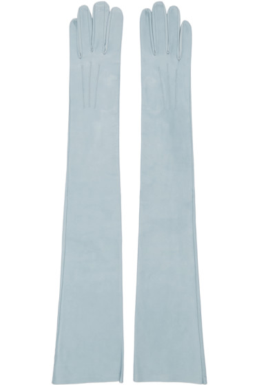 Erdem - Blue Long Leather Gloves