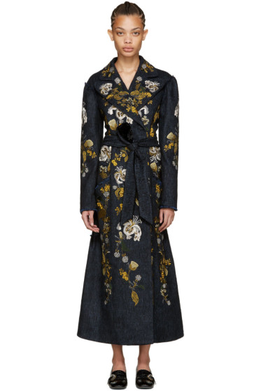 Erdem - Blue Embroidered Macey Coat