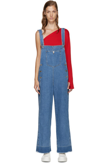 SJYP - Blue Denim Wide-Leg Overalls