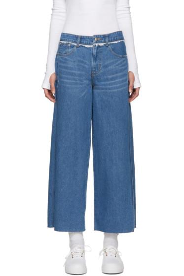 SJYP - Blue Vented Wide-Leg Jeans