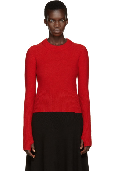 Lemaire - Red Wool Short Sweater