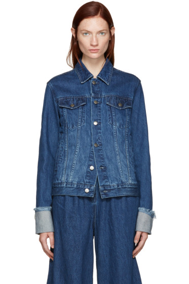 Edit - Blue Denim Turn Up Sleeve Jacket