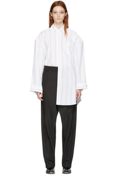 Vetements - White Pinstriped Football Shoulder Shirt