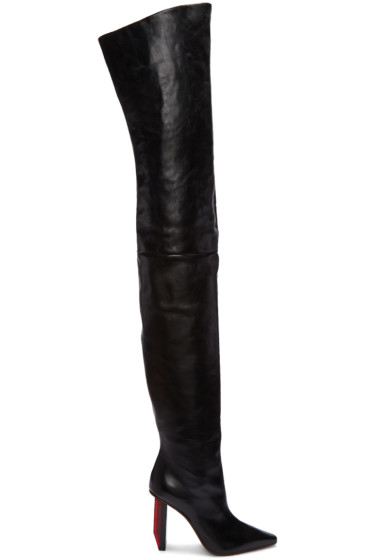 Vetements - Black Reflector-Heel Over-the-Knee Boots