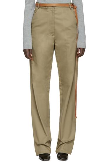 Loewe - Beige Wide-Leg Belted Trousers