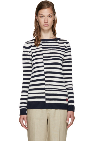 Loewe - Navy & White Striped Sweater