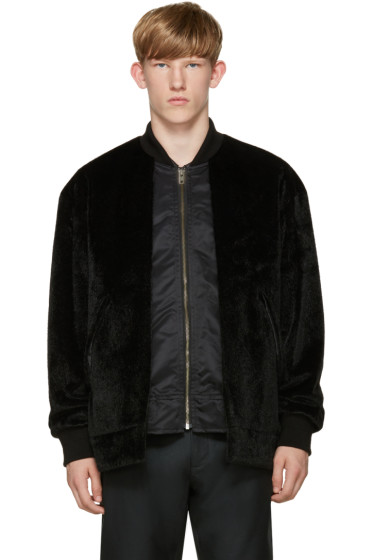 Toga Virilis - Black Faux-Fur Layered Bomber Jacket