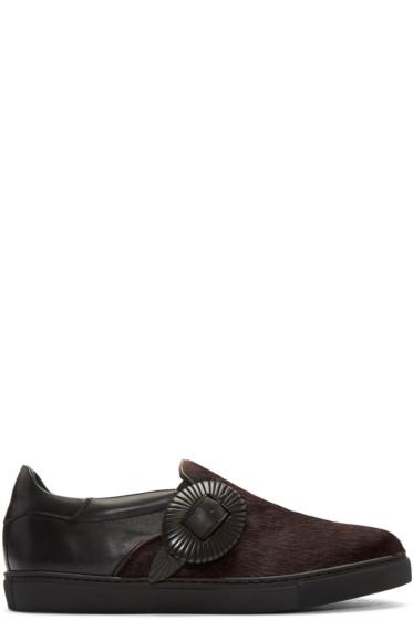 Toga Virilis - Black Calf-Hair Western Slip-On Sneakers