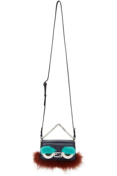 Fendi - Navy Eyebrows & Beard Micro Baguette Bag