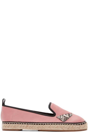 Fendi - Pink Leather Bug Eyes Espadrilles