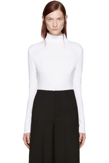 Rosetta Getty - White Mock Neck T-Shirt
