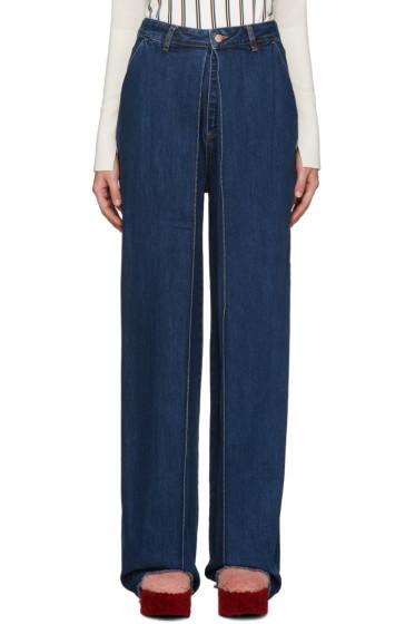 Aalto - Blue Pleated Jeans