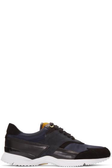 Wooyoungmi - Navy Calf-Hair Trim Sneakers
