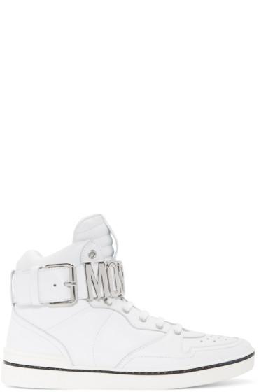 Moschino - White Logo High-Top Sneakers