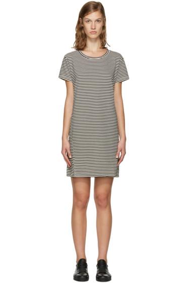 Amo - Black & White Striped Twist Dress