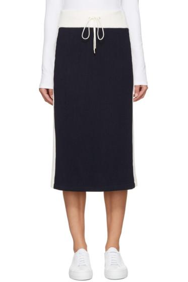 Atea Oceanie - Navy & Ivory Ribbed Skirt