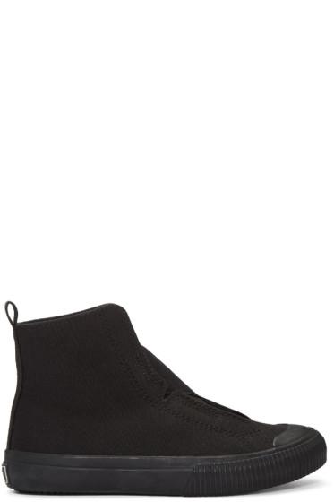 Y's - Black Cross Gore High-Top Sneakers