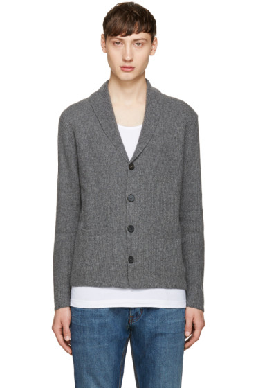 Éditions M.R  - Grey Shawl Collar Cardigan