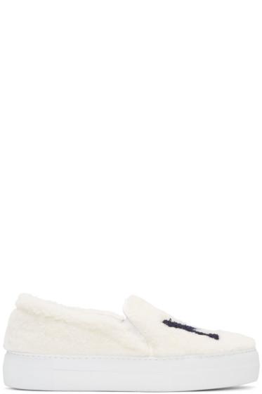 Joshua Sanders - White Shearling 'NY' Slip-On Sneakers