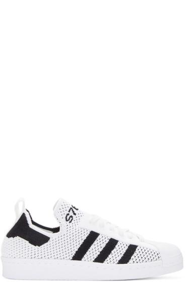 adidas Originals - White Superstar 80s Primeknit Sneakers