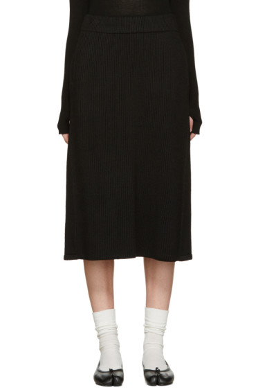 Hyke - Black Wool Ribbed Skirt