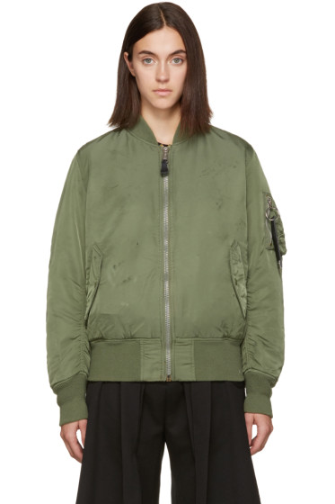 Alyx - Green Alpha Industries Edition Distressed Bomber Jacket