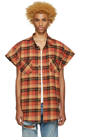 Fear of God - SSENSE Exclusive Orange Flannel Sleeveless Shirt