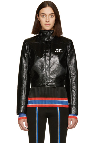 Courrèges - Black Glossy Logo Jacket
