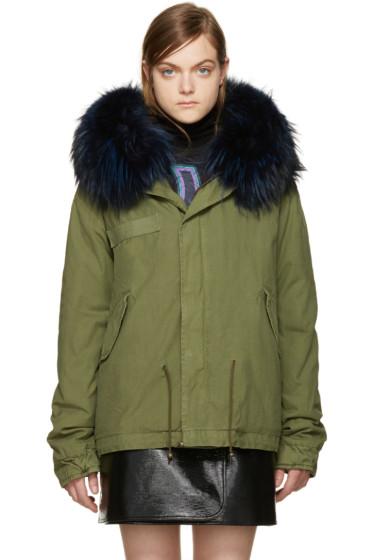Mr & Mrs Italy - Green Fur Collar Mini Parka