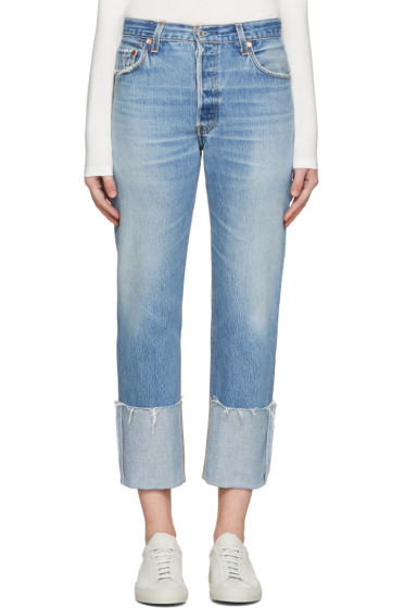 Re/Done - Blue High-Rise Cuffed Jeans