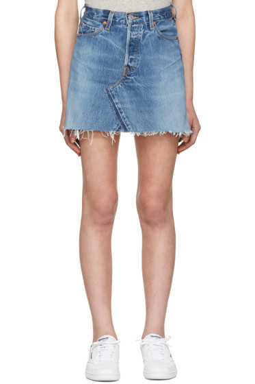 Re/Done - Blue High-Rise Denim Miniskirt