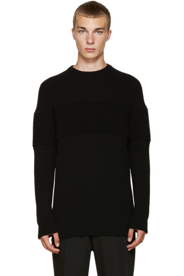 Curieux - Black Cashmere Ripple Panel Pullover