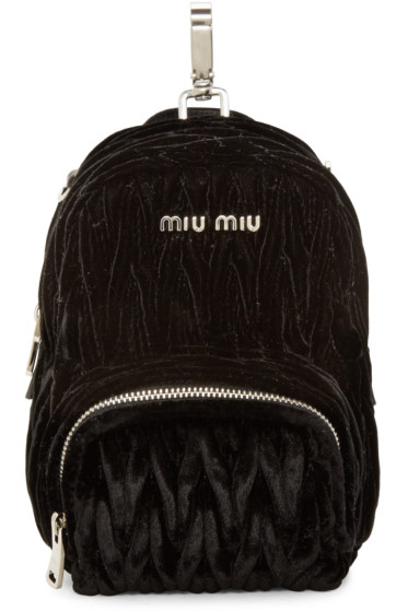 Miu Miu - Black Velvet Matelassé Backpack