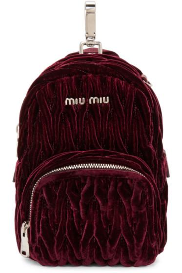 Miu Miu - Burgundy Velvet Matelassé Backpack
