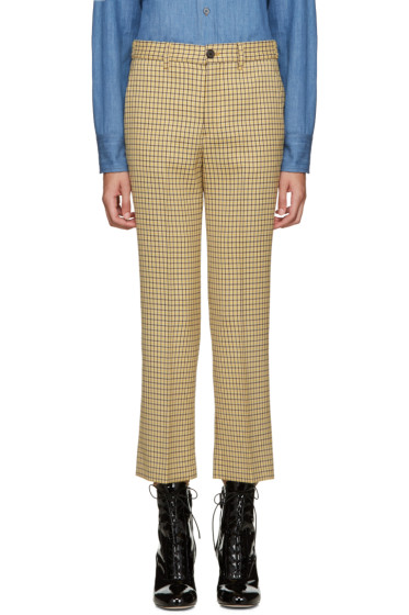 Miu Miu - Yellow Check Flared Trousers