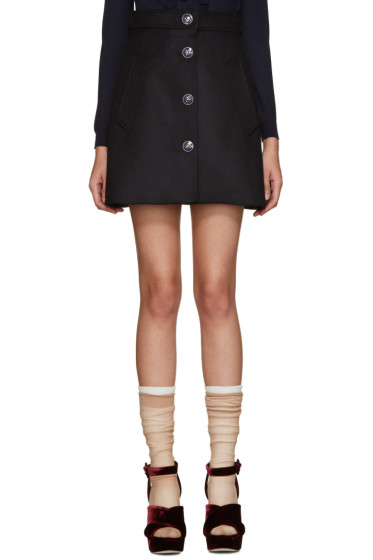 Miu Miu - Navy Wool Floral Button Miniskirt