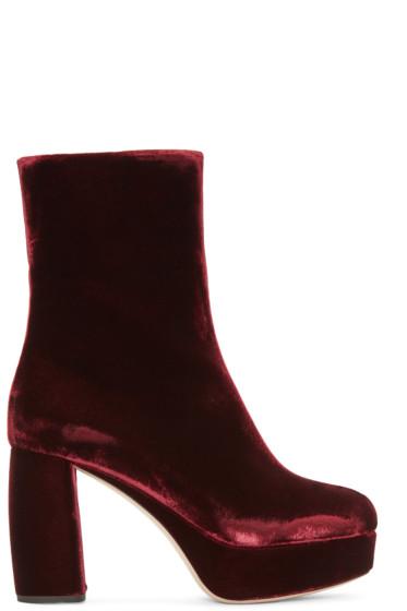 Miu Miu - Burgundy Velvet Boots