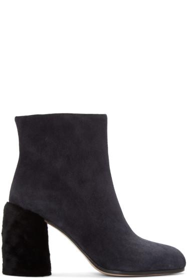 Miu Miu - Navy Suede & Shearling Boots