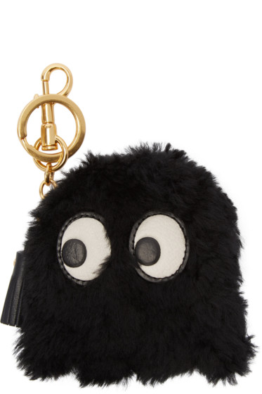 Anya Hindmarch - Black Shearling Ghost Keychain