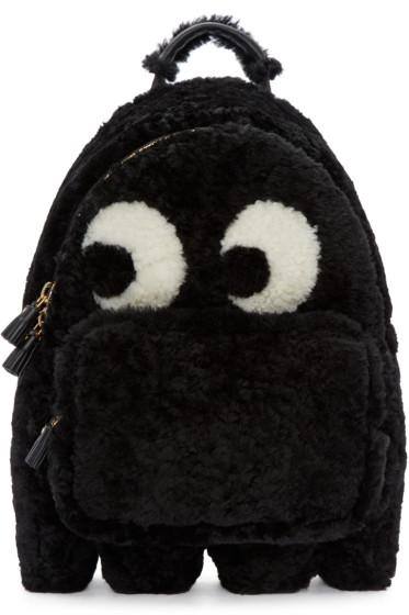 Anya Hindmarch - Black Shearling Ghost Furry Backpack