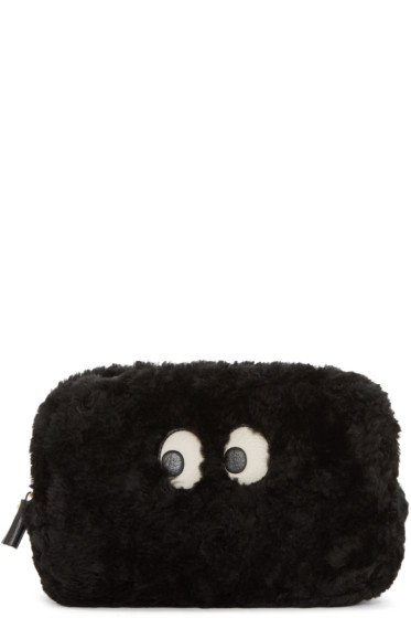 Anya Hindmarch - Black Shearling Ghost Pouch